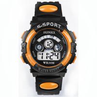 ingrosso ragazzi orologio arancione-Mens Boys Digital LED Quartz Alarm Date Sport orologio da polso in silicone Arancione Reloj Mujer Silicona Marcas Relogio Masculino 2018
