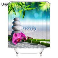 ingrosso pietra verde per la decorazione-1PC impermeabile 3D tenda doccia per il bagno in pietra verde bambù stampato decorazione bagno tenda fiore poliestere
