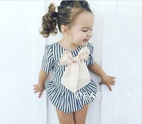 Wholesale baby girl cool clothes online - Girls Striped Rompers Big Bow Breathable Cool Cotton Baby Girls Jumpsuits Sweet Short Sleeve Summer Clothes