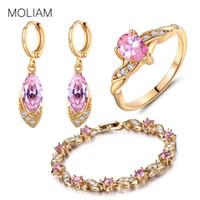 Wholesale jade engagement ring gold - whole saleMOLIAM Ladies Bridal Jewelry Sets for Wedding Gold-Color Pink Crystal CZ Bijoux Earring Bracelet Ring Set E016d+L104a+R105