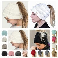 Wholesale wholesale caps adjustable backs online - Adult kids CC Ponytail Caps CC Knitted Beanie Fashion Girls Winter Warm Hat Back Hole Pony Tail Autumn Casual Beanies LJJY1236