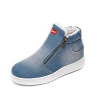 botas de vaquero botas al por mayor-Botas de nieve para mujer lienzo negro botas de vaquero diseñador occidental zapatos de algodón mejores zapatos de vestir 2019 invierno nuevos zapatos planos envío gratis