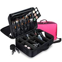 make-up koffer reise großhandel-Hohe Qualität Leere Frauen Professionelle Make-Up Veranstalter Tasche Kosmetiktasche Reisegepäck Tasche Große Bilden Aufbewahrungsbox Koffer