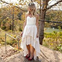 Wholesale high low style vintage wedding dress for sale - Romantic High Low Wedding Dresses Sweetheart Chiffon Lace Bead sash Plus Size Vestido de novia Bohemian Country Style Bridal Gowns