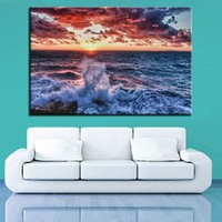 ingrosso belle immagini di salotto-Beautiful Canvas Painting Pictures 1 pezzo Sea Wave sferzato contro Seascape Painting Sunset Poster Living Room Decor
