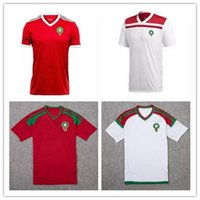 Wholesale red mail - Top quality ronaldo Morocco main away Camisa 2018 world cup Red soccer jerseys football white shirt de futbol kit Free mail messi