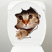 ingrosso adesivi di arte del bagno-Adesivi murali gatti 3D Adesivi toilette Visualizza fori Vivid Cani Sala da bagno Decorazione Animale decalcomanie in vinile Art Sticker all'ingrosso lin3779