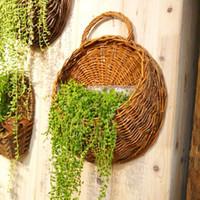 Wholesale artificial wall hanging basket flowers resale online - Pastoral Rattan Flower Basket Flower Pot Planter x38cm Hanging Vase Container Home Garden Wall Decoration Garden Supplies Accessories