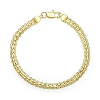 Wholesale Cheap Gold Chains For Men - Wholesale Cheap 18K Real Gold Plated 5MM Snake Chain Bracelet & Bangles Length 20CM Fashion Jewelry For Men and Women Free Shipping