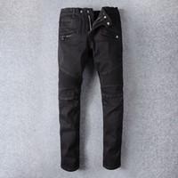 ingrosso nuovo arrivo del pantalone jeans-Classiche da uomo Jeans aderenti Francia Medusa Pierre uomo jeans strappati Motorcycle Fashion nuova moto arrivo graffiato Casual dei pantaloni