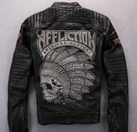 gerçek deri motosiklet ceketleri toptan satış-Sokak moda ızdırap erkek motosiklet Hint kafatası kafa nakış ile hakiki deri ceket