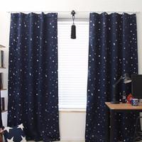 kinder schlafzimmer vorhänge großhandel-139 cm x 190 cm stern kinder kind schlafzimmer vorhänge mit 5 farben blackout thermische solide fenster vorhang für wohnzimmer decor