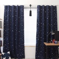 Discount white decor - 139cm x190cm Star Kids Child Bedroom curtains with 5 colors Blackout Thermal Solid Window Curtain For Living room Decor