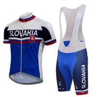 bibs de bicicleta azul branco venda por atacado-Pro team Men ciclismo jersey bib / shorts set branco azul Eslováquia bicicleta de corrida roupas de ciclismo respirável roupas ropa ciclismo M1601