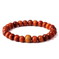 ingrosso il rosario del braccialetto borda il legno di sandalo-Legno di sandalo buddista meditazione preghiera perline braccialetto di perline uomini rosso naturale in legno Mala rosario perline braslet # HP30