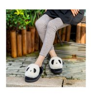 Wholesale Ladies High Quality Slippers - Household winter warm lady lovely high quality fashionable Extra thick cartoon panda cute cotton towing