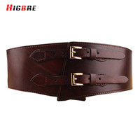 cintos femininos cinturones al por mayor-Moda Cinturón Doble Hebilla Cinturón de Las Mujeres Cinturón de Cintura de Cuero Genuino Marrón Puro Ancho Femenino Faja Para Más Tamaño Cintos Femininos