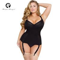 alta qualidade mais tamanho corset venda por atacado-Minifaceminigirl Feminino Sexy Mulheres Bustier Preto Overbust Push Up Corset Top de Alta Qualidade Lingerie Plus Size Espartilho e Bustiers