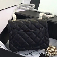 Wholesale american black caviar - Original quality 17.5CM Caviar Leather Flap Bag Classic and Compact Designer Cross Body 7 Colors Gold and Sliver Chain