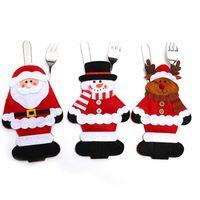 Wholesale utensil resale online - Xmas Knife fork set cartoon Santa Claus snowman elk deer Cutlery set Christmas home decorations Utensils bag C5264