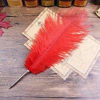 kırmızı hediye eşyaları toptan satış-Ücretsiz nakliye, Kırmızı Devekuşu tüyü Hediye Öğe, kırtasiye tükenmez kalem