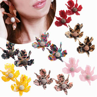 Wholesale copper colored earrings for sale - Newset style Fashion diamond earrings high end design gold plated earrings Multi colored resin lily flowers earring in stock