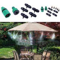 Wholesale misting systems - 10m 10pcs Sprinkler Outdoor Garden Misting Cooling System Mist Nozzle Sprinkler Water Kits System