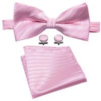 corbata rosa para los hombres al por mayor-Diseño de diseñador de corbata de lazo de boda rosa para hombre con mancuernas de pañuelo fiesta de negocios de bodas de lujo LH-819