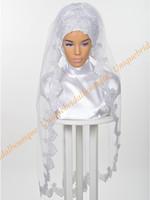imagen de velo real al por mayor-Boda musulmán Nupcial Hijab 2019 con lentejuelas Apliques de encaje plateado Cuadros reales Longitud de codo Velos de bodas islámicos Por encargo