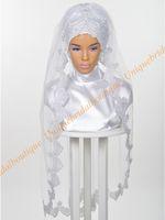 ingrosso velo di cerimonia nuziale del tulle d'argento-Musulmano Wedding Hijab 2019 con paillettes Argento Appliques in pizzo Immagini reali gomito lunghezza veli da sposa islamici Custom Made