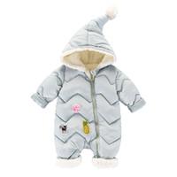 combinaisons en molleton bébé fille achat en gros de-2018 Hiver Coton Bébé Barboteuse Bébé Fille Garçon Combinaison De Neige En Bas Coton Infantile Combinaison Polaire À Manches Longues Combinaison Vêtements
