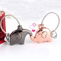 Wholesale Romantic Bags - Lovers Couples Elephant Keychain Keyring - Women's Bag Pendant Key Ring Chain Holder For Lover Couple - Trinket Gift