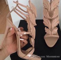 sandalia de tacón alto de hoja al por mayor-Cruel Verano Hojas de metal Sandalias aladas Mujeres Punta abierta Bombas de tacón alto Bailarina Zapatos de plataforma Piedras de estrás Sandalias de gladiador