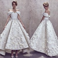 Wholesale floral high low prom dresses - Ashi Studio High Low Prom Dresses Custom Made Fully 3D Floral Embroidery Appliques Off Shoulder Party Gowns Dubai Arabic Evening Dress