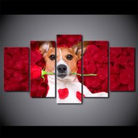 Wholesale Canvas Wall Art Ny - HD Printed 5 Piece Canvas Art Dog Holding Roses Paintings Wall Pictures Modular Music Poster Home Decor Free Shipping NY-7273C