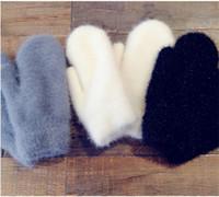 ingrosso guanti giapponesi-Nuovo arrivo guanti inverno femminile carina giapponese coppie calde con i capelli di coniglio addensato e guanti in pile caldi guanti studentesse femminili
