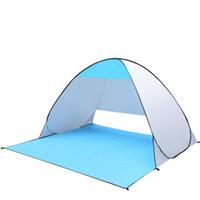 камуфляж летние палатки оптовых-2-х местная автоматическая складная палатка для семьи Семейная палатка Пляжная палатка Sun Shelter для путешествий / кемпинга (ярко-серебристый)