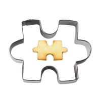 головоломка оптовых-Оптовая-1 шт. форма головоломки Cookie плесень из нержавеющей стали 3D помадной Cookie Cutter плесень торт украшения инструменты DIY печенье Печенье выпечки плесень