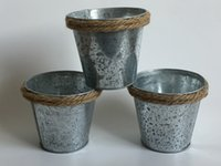 Wholesale metal planter boxes - D11*H10CM Succulents Planter Galvanized Pots Rustic buckets tin box Iron pots metal cup for Small Plant
