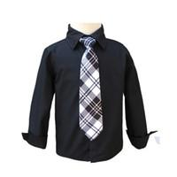 siyah uzun kollu bluz toptan satış-Erkek bebek Beyaz Siyah Kravat ile Okul Bluzlar Erkek Gömlek Çocuk Gündelik Giyim Uzun Kollu Bebek Gömlek