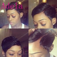 Discount celebrity hair bangs - Celebrity Wigs Lace front human hair wigs Cheap Pixie Cut short glueless wig with bangs for african americans Best brazilian hair wigs