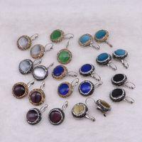 dcf40ead2a16 10 pares venta al por mayor joyería de las mujeres de piedra natural Druzy  pendientes forma redonda gancho verde azul negro color mexicano