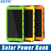 Wholesale dual solar power bank resale online - ZZYD Portable mAh Solar Power Bank Dual USB External Battery Pack Waterproof Led Charger For iP Samsung S8 Note