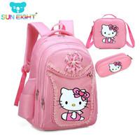 patrones de mochila para niños al por mayor-Hello Kitty Girl's School Bags Patrón de dibujos animados Kid Backpack Niños School Backpack Girl Bag