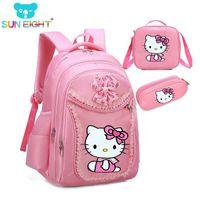 mochila para crianças hello kitty venda por atacado-Olá Kitty Sacos De Escola Da Menina Dos Desenhos Animados Padrão Mochila Crianças Mochila Escolar Menina Saco Da Menina