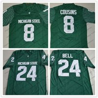 Wholesale bell shorts - NCAA Michigan State Spartans #8 Kirk Cousins 24 LeVeon Bell Green Limited White Stitched Rush MSU College Football Jerseys S-3XL