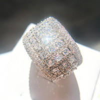 Wholesale ring paved stone for sale - Mens Simulated Diamond Engagement Rings New Silver Color Fashion Bling Stone Cubic Zirconia Wedding Ring For Women