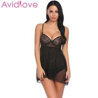 açık külot seksi kadın toptan satış-Avidlove Kadınlar Sexy Lingerie Erotik Iç Çamaşırı Kostümleri Babydoll Aç Geri Sheer Babydoll Seti Gecelikler Panty D18110902