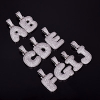 ingrosso collane di fascino della bolla-A-Z Nome personalizzato Bubble Letters Collane Ciondolo Charm per uomo Donna Oro Argento Colore Cubic Zircone Hip Hop Gioielli regali