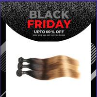 12 inç ombre saç uzantıları toptan satış-9a 3 Ton Ombre perulu Düz Saç Örgü Demetleri 1B / 4/27 Remy İnsan Saç Uzantıları 3 Paketler Anlaşma